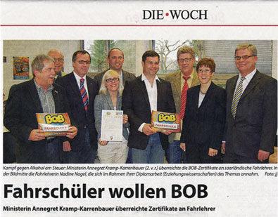 Annegret Kramp-Karrenbauer überreicht Zertifikate der BOB-Aktion